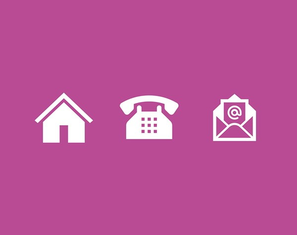 House, phone and email icons