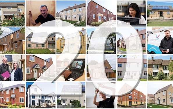 Montage of photographs of Cottsway homes and staff